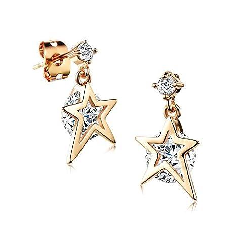Charming 18 ct Gold Plated Small Stars Earrings with White Zirconia Austrian Crystals - Multi Orecchini A Cristallo Di Colore