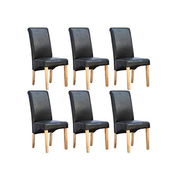 6 x CAMBRIDGE LEATHER BLACK DINING CHAIR w DARK WOOD LEGS ROLL TOP HIGH BACK 41PDF6zPKvL