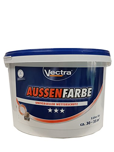 Vectra Aussenfarbe Fassadenfarbe Außendispersionsfarbe Universeller Wetterschutz seidenmatt weiß 5 liter