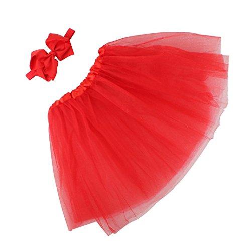 fotografía de la flor,Vovotrade falda de bebé + Venda (Rojo)