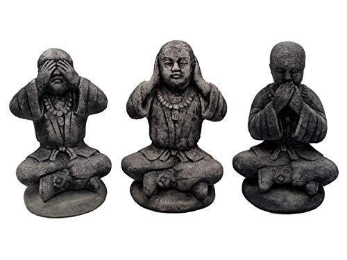 gartendekoparadies.de 3 Buddhas buddhistische Lehre aus Steinguss, frostfest