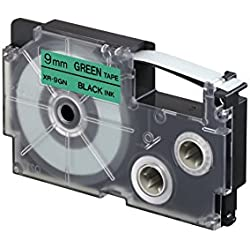 Casio XR-9GNI-W-DJ Label Printer Tape (Black and Green)