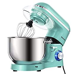 Aucma Stand Mixer, 6.2 L Stainless Steel Mixing Bowl, 6 Speed 1400W Tilt-Head Food Mixer, Kitchen Electric Mixer with Dough Hook, Wire Whip & Beater (Blue)