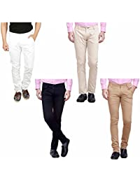 Nimegh White, Cream, Black And Beige Color Cotton Casual Slim Fit Trouser For Men's (Pack Of 4)
