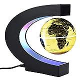 Garosa Globo Flotante Levitación Magnética Lámpara de Escritorio Luces LED c Forma Mapamundi Educativo para Niños Adultos Decoración del Escritorio de La Oficina En El Hogar(EU Oro)