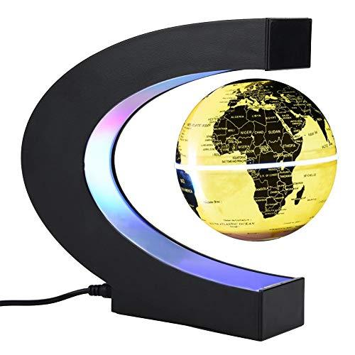 Zerodis Globo Flotante de levitación magnética Forma C para decoraciòn en Oficina y casa, Globos Terraqueo Magnetico con Luces LED(EU Plug Golden)
