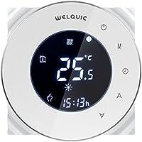 Raumthermostat Welquic Thermostat LCD Touchscreen 95~240V Wandthermostat Heizkörper-Thermostat Digital Smart Programmierbares Fußbodenheizung Wasserheizung mit Freies Sensorkabel, weiß