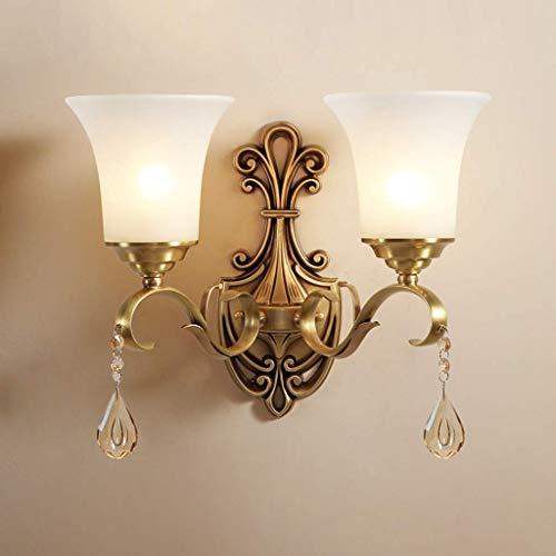Antike rustikale Messing Wandleuchte Beleuchtung weiß Alabaster Glas Lampenschirm, dekorative Wandleuchte Wandleuchte Leuchte für Schlafzimmer Flur Wohnzimmer A + (Größe: 2 Lichter) -