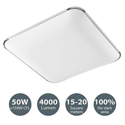 LVWIT 50W LED Deckenleuchte, 3000K Warmweiß, 65x65 cm, 4000 lm, moderne Deckenlampe/Panel Lampe für Flur Wohnzimmer Schlafzimmer Küche, energiesparend
