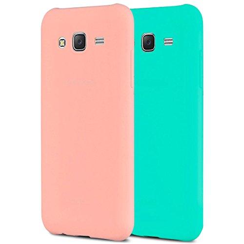 Anfire 2X Samsung J3 Funda, Carcasa Silicona Gel TPU para Samsung Galaxy J3 2016 J310 Ultra Delgado Suave Protectora Caso Flexible Caja Ligero Back Case Cover Anti Rasguños Tapa - Rosa + Azul