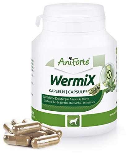 AniForte WermiX für Hunde 100 Kapseln - Naturprodukt vor, während und nach Wurmbefall mit Saponine, Bitterstoffe, Gerbstoffe, Wermut, Naturkräuter harmonisieren Magen & Darm