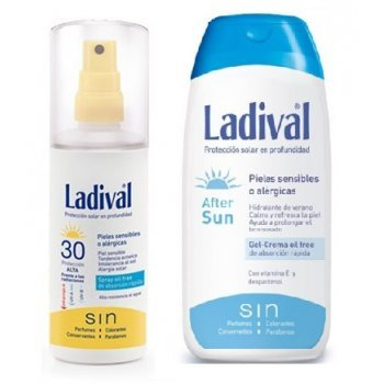 Duplo LADIVAL allergische Corporal Sensible Haut oder FOTOPROTECTOR Spray Gel Creme FPS 30 High 150 ml + After Sun 200 ml