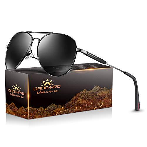DADA-PRO Sonnenbrille Herren Pilotenbrille Damen Polarisiert Verspiegelt Retro Fahren Fahrerbrille UV400 Schutz für Autofahren Reisen Golf Party und Freizeit (Schwarz) -
