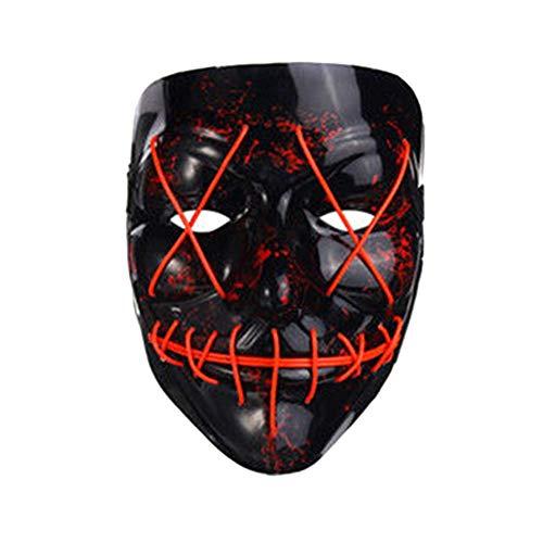 Starall LED Leuchten Blitz EL Draht DJ Party Raver Scary Maske Halloween Kostüm Cosplay Masken (rot)
