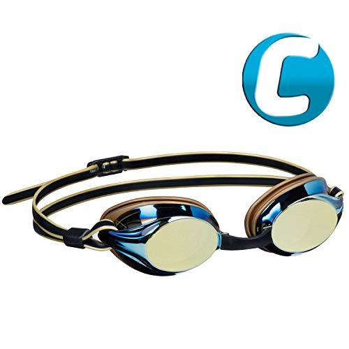 Beco Unisex- Erwachsene Boston Mirror Wettkampfbrille, Gold, One Size
