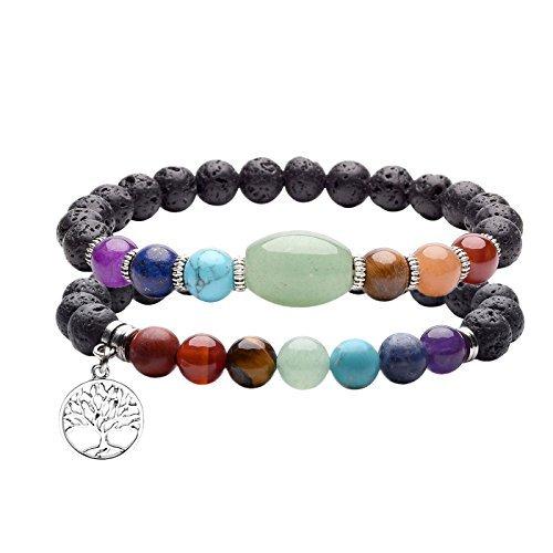 JOVIVI Schmuck Set ,2er Natürlich Edelstein Lebensbaum Anhänger Armband Chakra Balance Armreif Energietherapie Healing Balance Buddha-Armband