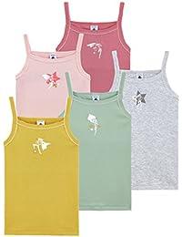 Petit Bateau Camiseta de Tirantes para Niñas (Pack de 5)