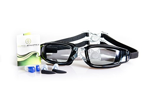 Swimming Goggles by Alpha Athletica; Waterproof Swim Lenses; Quick Release Clasp; Anti Fog Technology for Clear Vision; Perfect for Men, Women, and Kids; Includes Hard Case, Ear and Nose Plugs