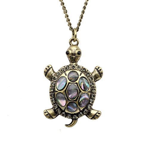 Gilind Vintage Turtle Long Necklace for Women Fashion Jewelry + Gift Box