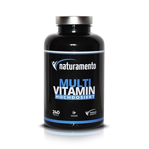 Multivitamin 240 Kapseln Hochdosiert - Vegane Vitamin-Tabletten - alle wertvollen Vitamine und Mineralstoffe von A-Z in nur 1 Kapsel - 1 Packung ist für ca. 80 Tage Vitaminversorgung