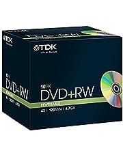 TDK Blank DVD+RW 4.7GB Disc Jewel Case 4X Speed DVD Rewritable (Pack of 10)