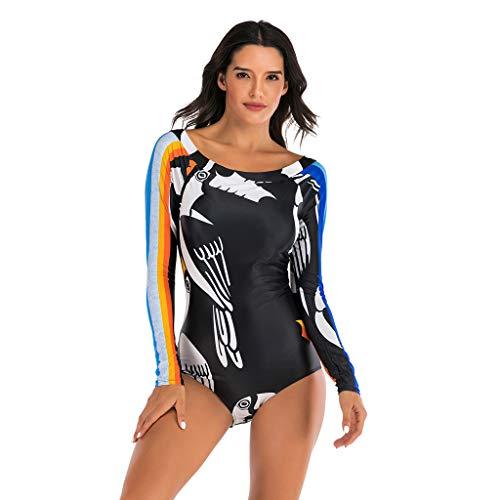 QIMANZI Damen Schwimmshirt Langarm UPF 50+ Athletic Swim Shirt Farbblock Druck Tankini Sets Badeanzug Badeshirt (M Schwarz,L)