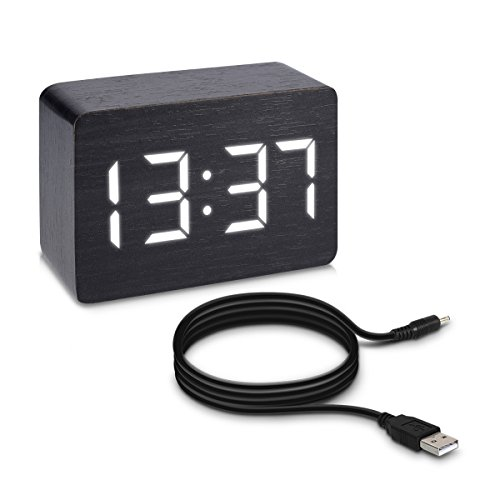 Kwmobile Reloj Despertador Digital Cable USB - Pantalla