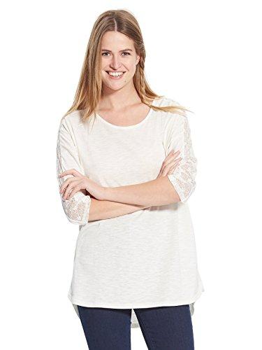 Balsamik Maglietta con microrete ricamata, statura – di 1,60 m - donna Ecru