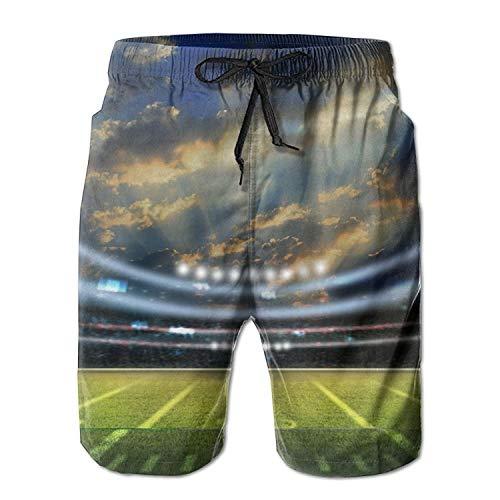 IconSymbol American Football Stadium 3D Männer/Jungen Casual Badehose Kurze Strandhose mit elastischer Taille und Taschen - Herren Carpenter Jeans Kurze