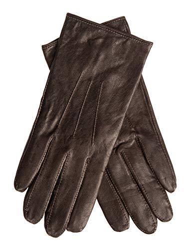 EEM Damen Leder Handschuhe AMELIE aus Lammnappaleder, modisch, warm, klassisch, braun M