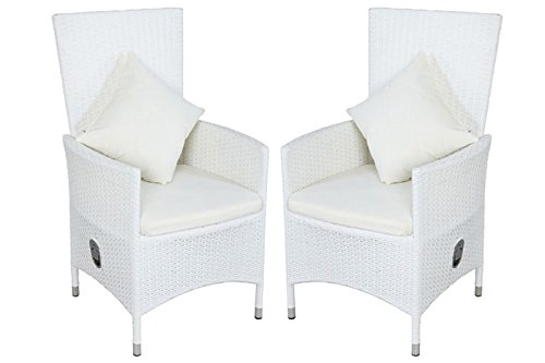 OUTFLEXX 2er-Set Sessel aus hochwertigem Poly-Rattan in weiß, 66,5 x 70 x 110 cm, inkl. weichen...