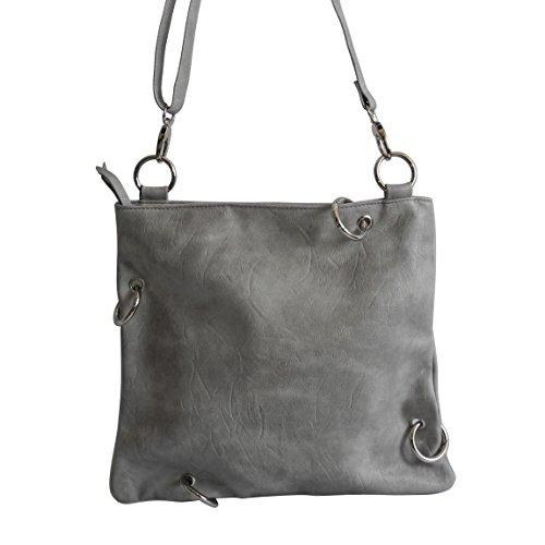 Jennifer Jones - präsentiert von ZMOKA®, Borsa a tracolla donna Grigio Grau Metallic grigio chiaro