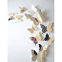 Wall Stickers Splendente farfalla 3D,NINGSUN Adesivi murali decalcomania Farfalle 3D Mirror Wall Decori di casa d'arte,decorazione casa stickers murali