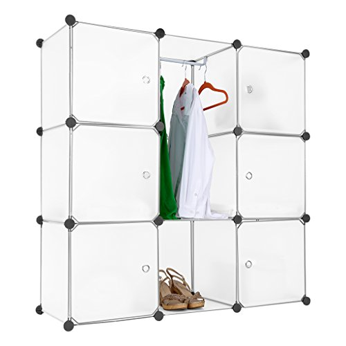 LANGRIA Stufenregal 9-Kubus Lagerregal Kleiderschrank Garderobe mit Transluzenten Platten für Kleidung, Schuhe, Spielzeug und Bücher
