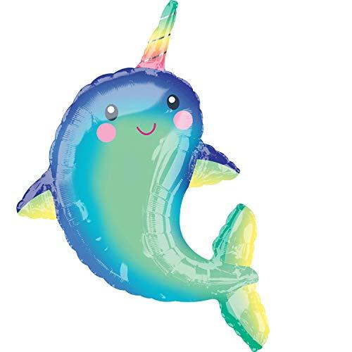 Amscan 3847701 Folienballon Supershape Happy Wal, Mehrfarbig