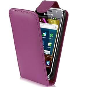 Supergets Hülle für Samsung I9000 Galaxy S / I9001 S Plus Imitat Leder Tasche in Lila Violett, Hülle Schale Case Etui, und Schutzfolie