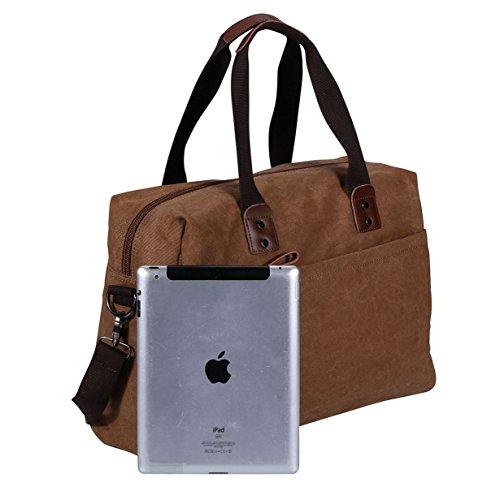 VIDENG POLO Herren Messenger Bag Jahrgang Canvas Duffel Tasche Schultertasche Sporttasche Reise Handtasche,4 Größe Braun-pmc2