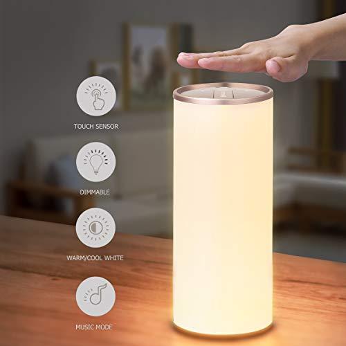 Nachttischlampe mit Gestensensor, YUNLIGHTS Tischlampe LED Nachtlampe Stimmungslicht, Stufenlos Dimmbar Touch Bedienung Kabellos Batteriebetrieben, Ein-Griff Tragbar Perfekt Weihnachtsgeschenk -