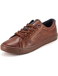 Devee Wear Me Front Row Plain Brown Synthetic Leather Low Top Sneaker Shoe