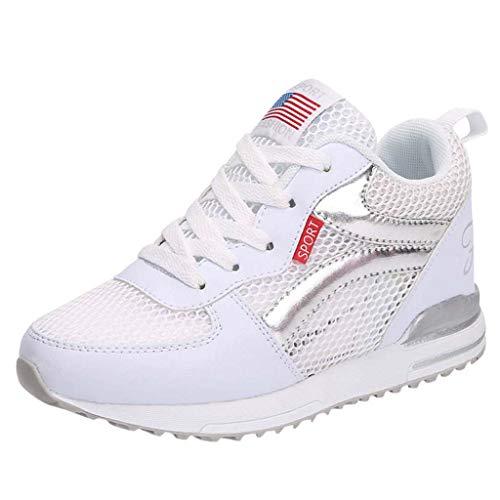 CUTUDE Damen Laufschuhe Turnschuhe Bequem Mesh Ultra-Leicht Atmungsaktiv Gym Fitness Sportschuhe Sneaker Schnürer Straßenlaufschuhe Schuh-Kursteilnehmer (Weiß, 35 EU)