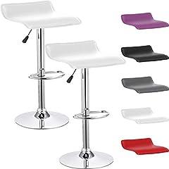Idea Regalo - Beltom 2 SGABELLI da Bar E Cucina con PENISOLA Regolabili in Altezza Sedia Girevole per PIZZERIE Pub RISTORANTI Hotel Soggiorno Ufficio - Modello Wave - X2-Bianco