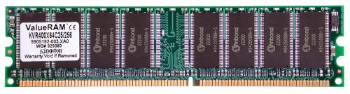 Kingston Technology ValueRAM Memory 512MB DDR 400Mhz nonECC DIMMCL3 0.5GB DDR 400MHz módulo de - Memoria (0,5 GB, DDR, 400 MHz, 184-pin DIMM)