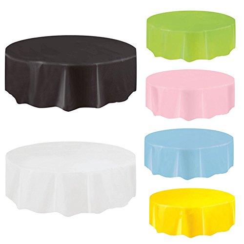 4x nappe jetable ronde, Disposable Tablecloth Round,couvertures de table réutilisables en plastique de PEVA pour des parties / événement 84 '' blanc