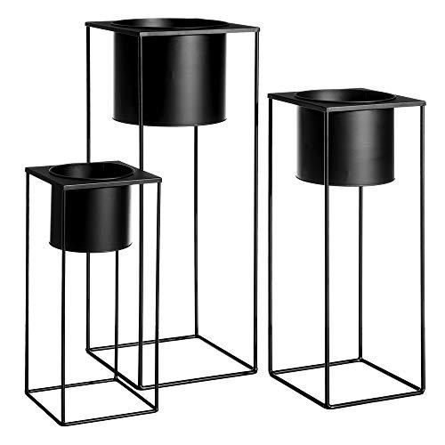 Maceteros de Suelo de Metal Negros Minimalistas para salón Factory - LOLAhome