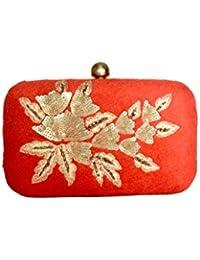 Duchess Women's Self Aari Work Flower Box Clutch - 4 Colors To Choose From