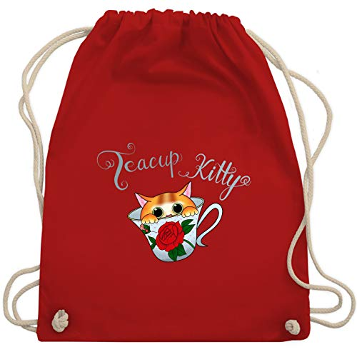 Katzen - Teacup Kitty - Unisize - Rot - WM110 - Turnbeutel & Gym Bag Rosa Teacup