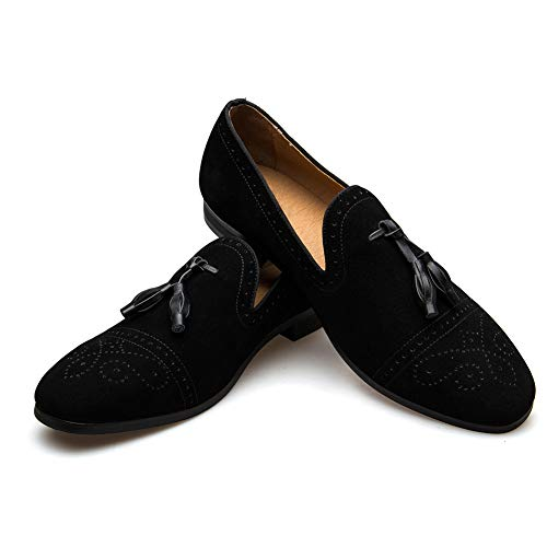 JITAI Herren Vintage Velvet Bv Stickerei Edle Loafer Schuhe Slip-on Loafer Rauchen Pantoffel Quaste Loafer (EU43/US10, Black.)