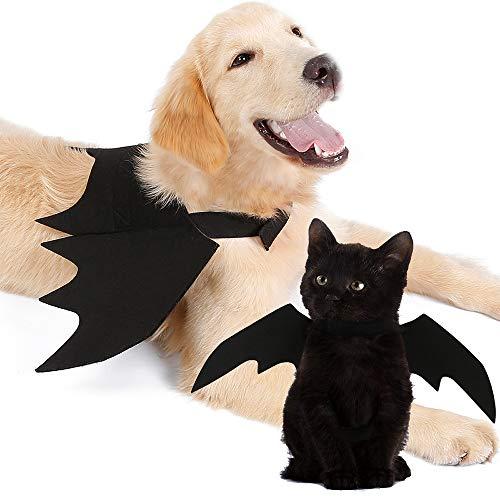 TFENG Kostüm für Katzen Haustiere Kostüme Kleidung Halloween Kürbisse Katze Glocke Fledermaus Flügel Katze Fledermaus Kostüm für Hündchen