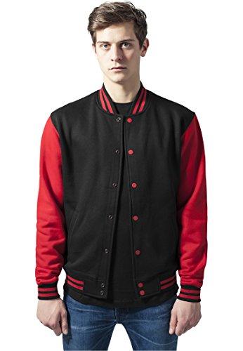 Urban Classics TB207 Herren Jacke Bekleidung 2 Tone College Sweatjacket Weiß/Rot