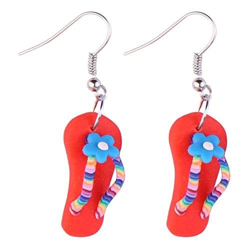 Drop Ohrring Flip Flop mit Blume (rot) mit Kunstharz hergestellt von Joe Cool